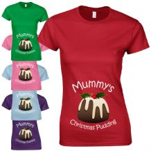 Mummy's Christmas Pudding Ladies Fitted T-Shirt - Funny New Baby Pregnancy Gift